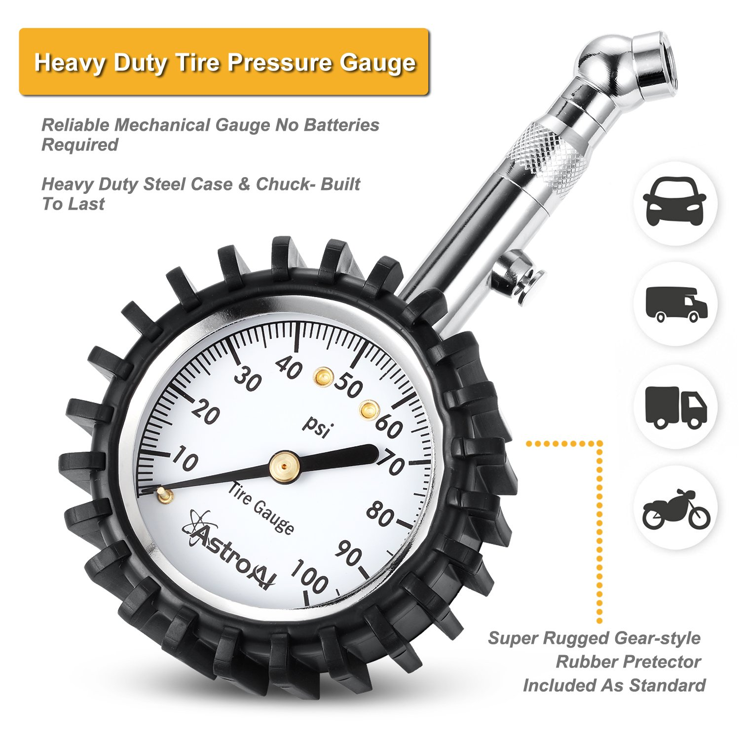 AstroAI Case of 50, Tire Pressure Gauge, 100 PSI Portable Heavy Duty Mechanical for Car Truck Motorcycle Bicycle with Integrated Bleed Button, Black by AstroAI (Image #4)