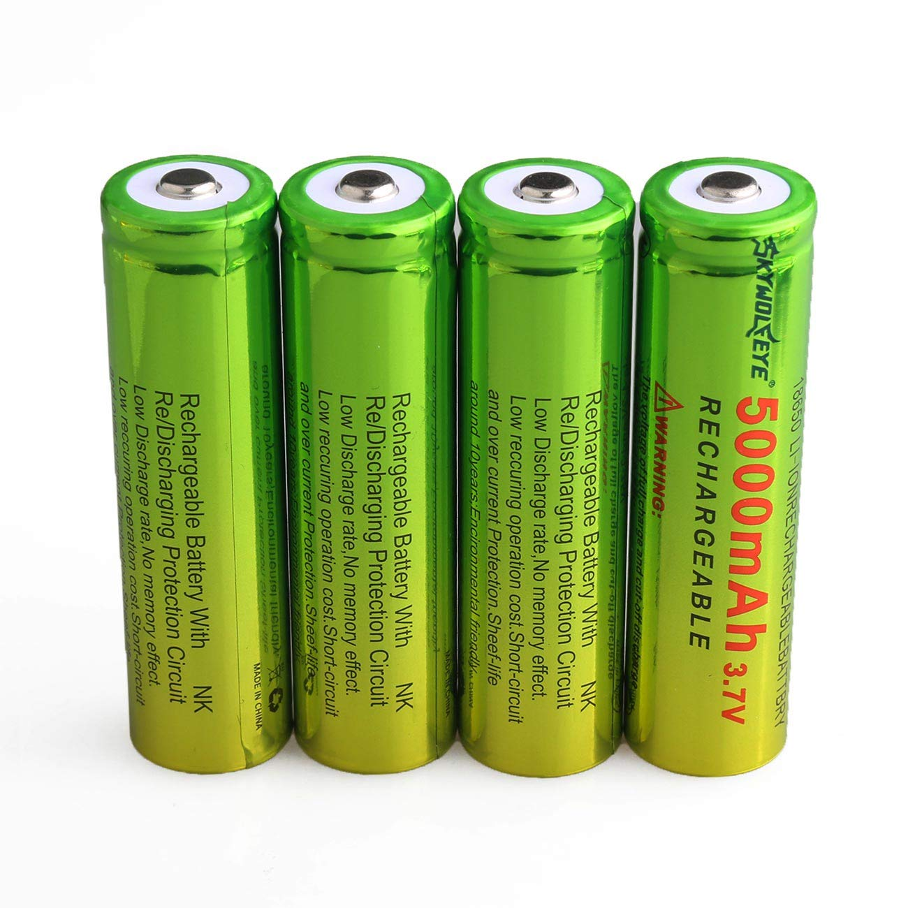 Skywolfeye 18650 Lithium Rechargeable Batteries 5000mah Protection Circuit For Led Torch Sanyo Battery Cell 37v And Li Ion 18500 16340 14500 26650 Universal Smart Charger 4pc