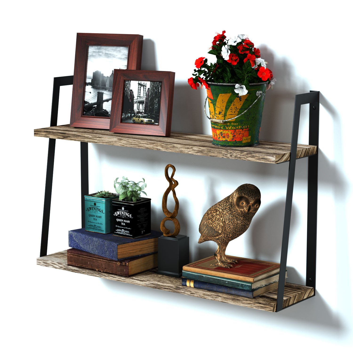 RooLee 2-Tier Floating Wall Mount Shelves Book Shelves Rustic Wood Shelves Perfect Decor for Any Room