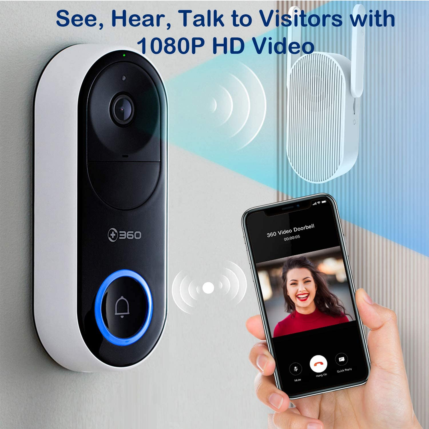 Chime with WiFi extender Cloud Storage//TF card 360 D819 Wireless Smart Video Doorbell 5000mAh Rechargeable battery 1080P HD AI Face Recognition,Motion detection,2-way talk,app remote control
