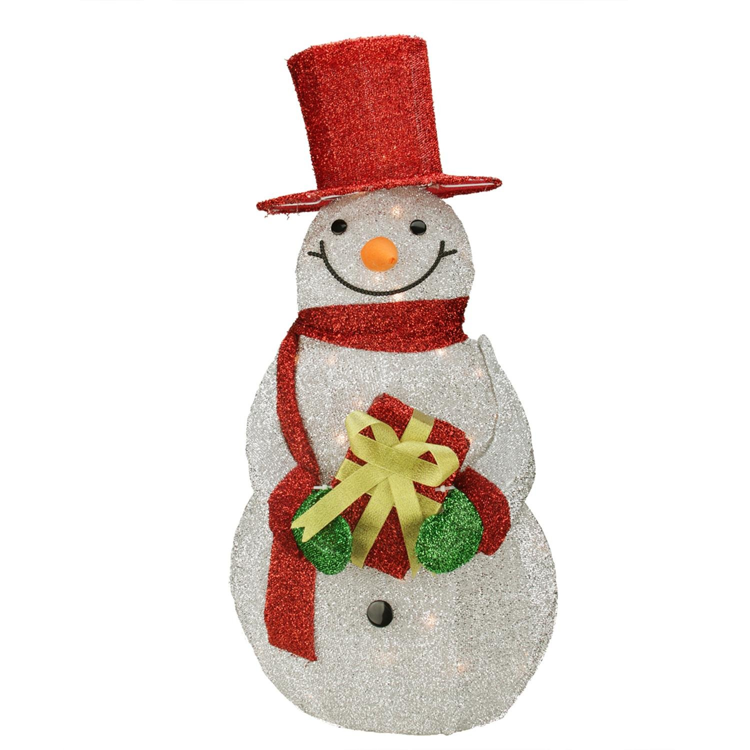Northlight Lighted Silver Tinsel Snowman with Gift Christmas Yard Art Decoration, 32'', Red