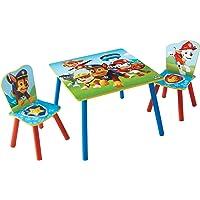 Paw Patrol Set aus Tisch und 2 Stühlen für Kinder, Holz Rot/Blau 63 x 63 x 52.5 cm