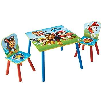 Paw Patrol Set Aus Tisch Und 2 Stühlen Für Kinder Holz Red And Blue