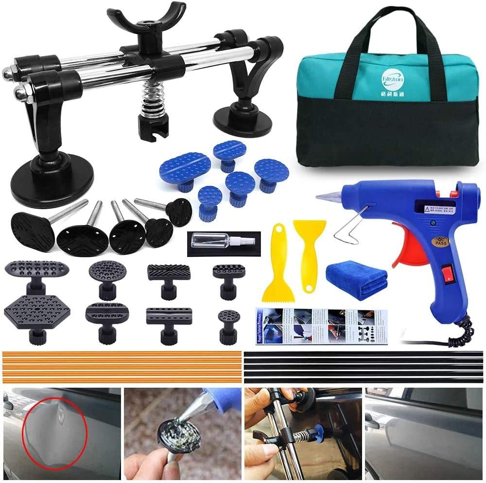Minor dents and Hail Damage Randalfy Car Dent Puller Auto Body Repair Tool Kit with Double Pole Bridge Dent Puller and Dent Puller Tabs for Car Dent Removal