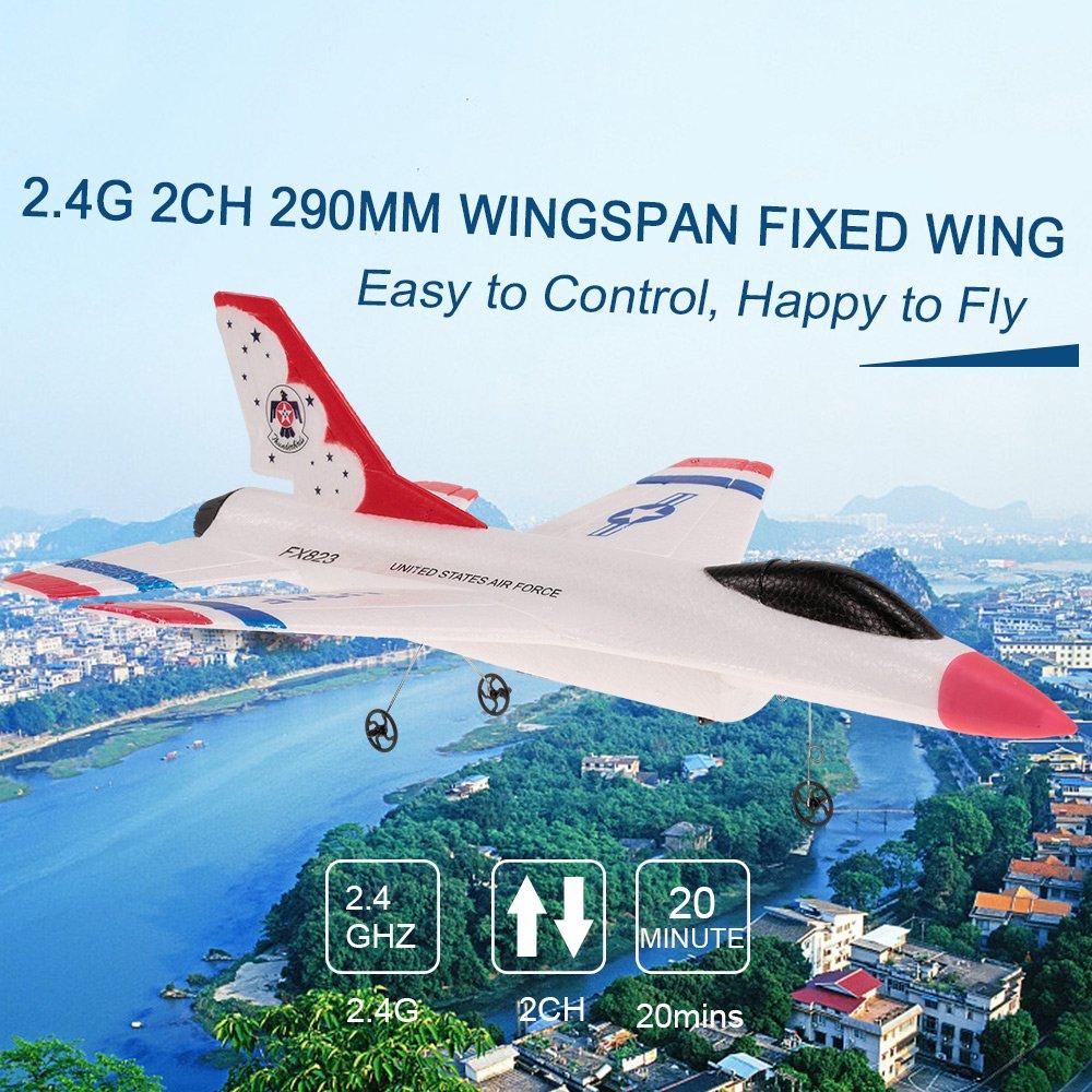Goolsky FX-823 RC Avion 2.4G 2CH 290mm Wingspan T/él/écommande Planeur Aile Fixe EPP RTF