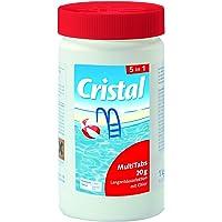 Cristal MultiTabs 20g 5 in 1   1 kg Dose   5 in 1 Chlor-Komplettpflege mit Langzeitdesinfektion, Algenvernichtung, Trübungsentfernung, Chlorstabilisierung, Härtestabilisator