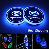VILLSION Cup Holder Car Coaster LED Light 7 Colors USB Charging Cup Mat Pad Bottle Drink Holder for Car LED Atmosphere Lamp Accessories Choose Your Car Name