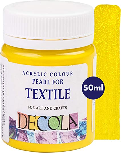 Pintura Textil Efecto Purpurina Amarilla 50ml | Colores Con Alta Pigmentación | Hecho En Rusia Por Neva Palette