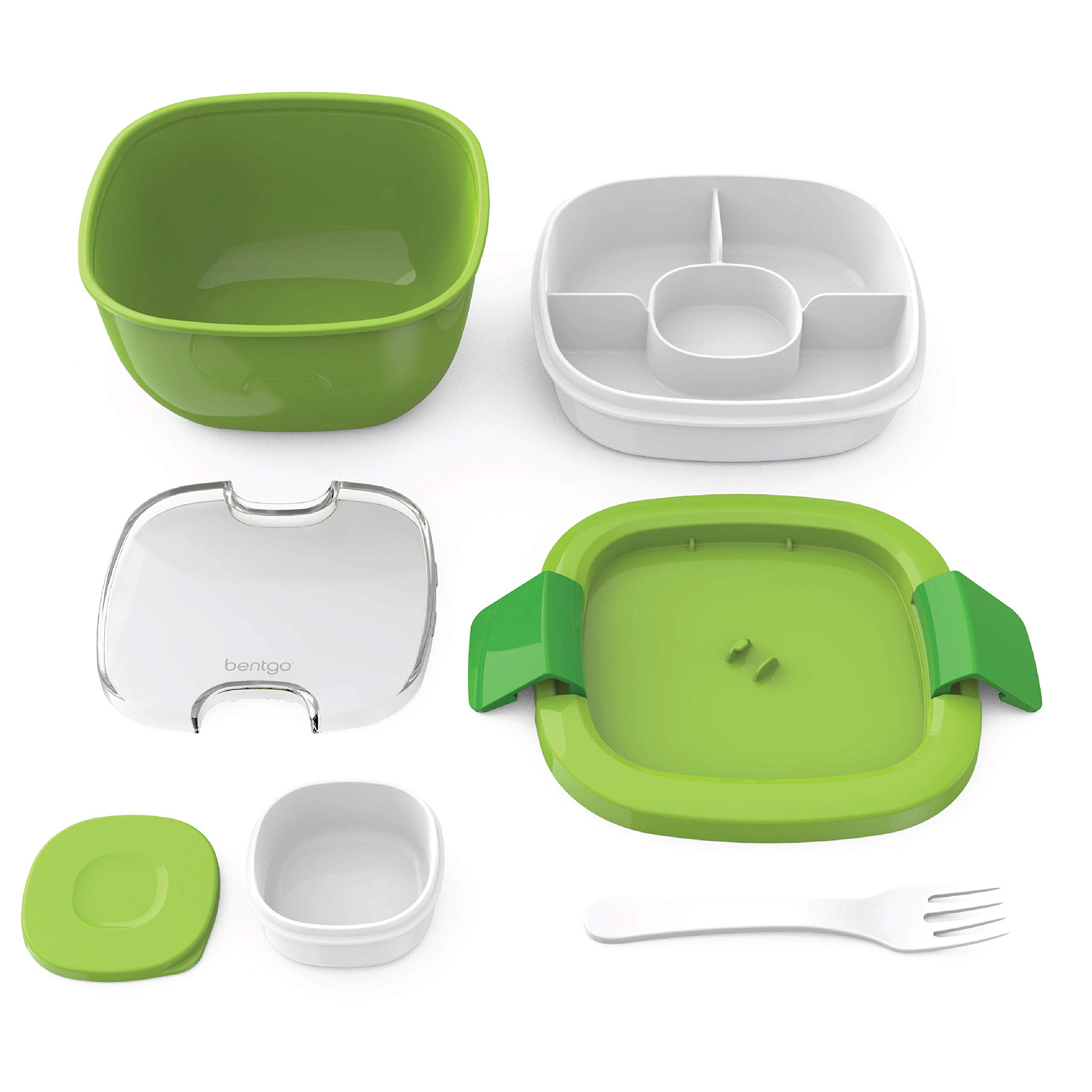 Bentgo Salad (Green) BPA-Free Lunch Container with Large 54-oz Salad Bowl, 3-Compartment Bento-Style Tray for Salad Toppings and Snacks, 3-oz Sauce Container for Dressings, and Built-In Reusable Fork by Bentgo (Image #5)