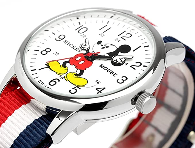 Amazon.com: Disney Mickey Mouse MickeyMouse tricolor watch colorful watch NATO nylon belt Mens Womens Kids: Watches