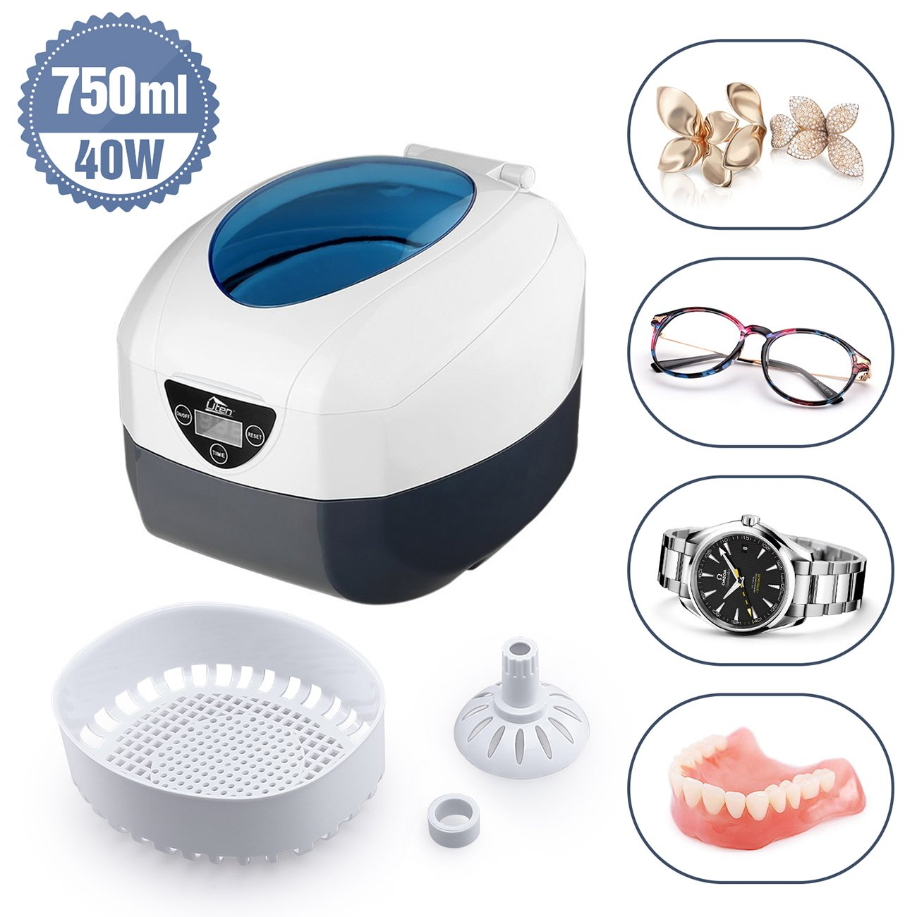 Ultrasonic Cleaner Low Noise Wash Machine for Cleaning Eyeglasses Jewelrys Watches Razors Dentures Combs Tools Instruments(750 ml)