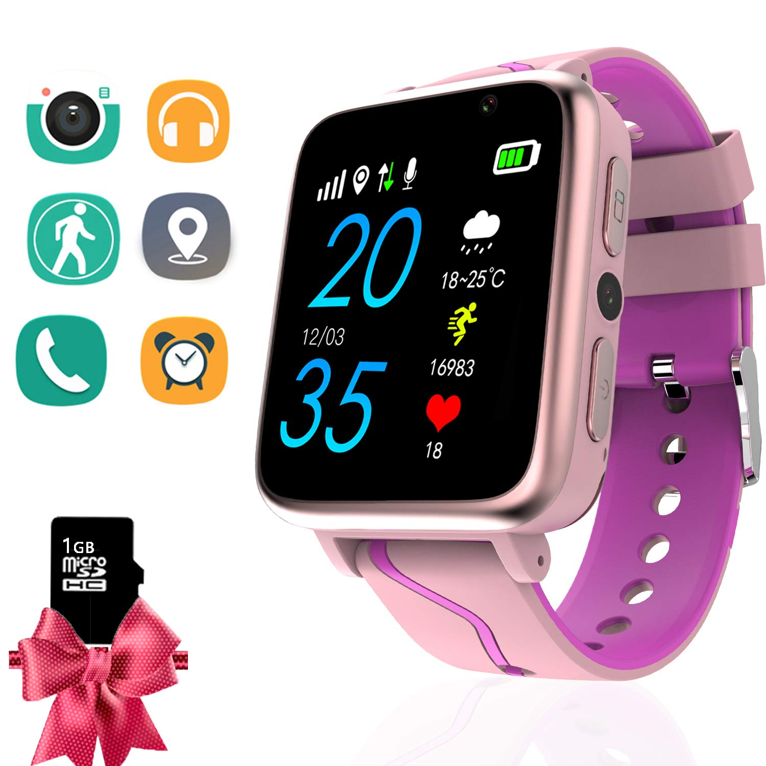 Kids Smartwatch with Music Player - Boys Girls MP3 Smart Watch Phone with LBS Tracker Voice Chat Pedometer Fitness Tracker Touch Screen Camera ...