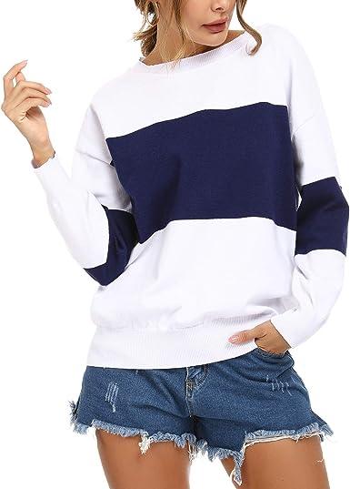Irevial Jersey de Punto Mujer Invierno, Suéter de Manga Larga Hombro Descubierto Mujer Sexy, Camiseta Mujers Colores de Costura Casual para otoño ...