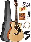 Yamaha FGX800C Solid Top Folk Acoustic-Electric Guitar - Natural Bundle with Gig Bag, Tuner, Strings, Strap, Austin Bazaar Instructional DVD, Picks, and Austin Bazaar Polishing Cloth