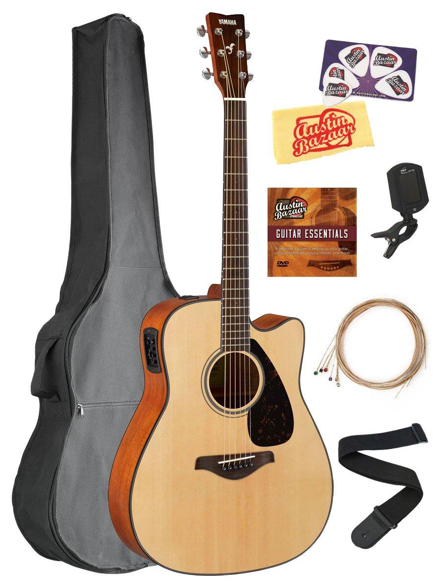 Yamaha FGX800C Solid Top Folk Acoustic-Electric Guitar - Natural Bundle with Gig Bag, Tuner, Strings, Strap, Picks, Austin Bazaar Instructional DVD, and Polishing Cloth