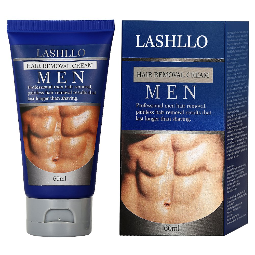 LASHLLO Depilatory, Natural Painless Permanent Thick Hair Removal Cream + Plastic Scraper, Used on