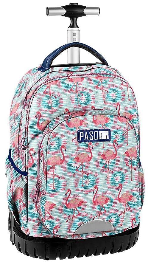 3c8e0e43dc Paso Flamingo Grande Zaino con Ruote Trolley Ragazza Scuola Media,  Elementare