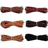 3 mm x 5 m Leder Schnur Faden für Armband Halskette Perlen Schmuck DIY Handgefertigte Handwerk, 6 Stück, 6 Farben