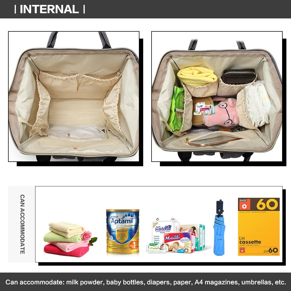 Kono Nappy Changing Backpack Baby Diaper Bag Rucksack with 3 Insulated Thermal Milk Bottle Pockets for Mummy Daddy Purple