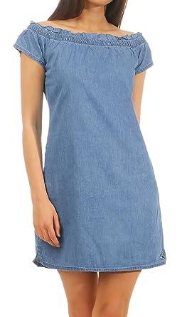 Stitch Soul Damen Mini Jeans Kleid Lss 071 Schulterfrei Kurz