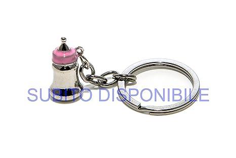 10 unidades Llavero de metal Biberón Rosa BOMBONIERA niña ...