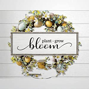 43LenaJon Plant Grow Bloom 6x20 inch Framed Wood Sign | Rustic Name Bible Verse Wooden Plaque Art & Wood Wall Decor Sign for Chrismas Home,Gardens, Coffee Shop,Porch, Gallery Wall.