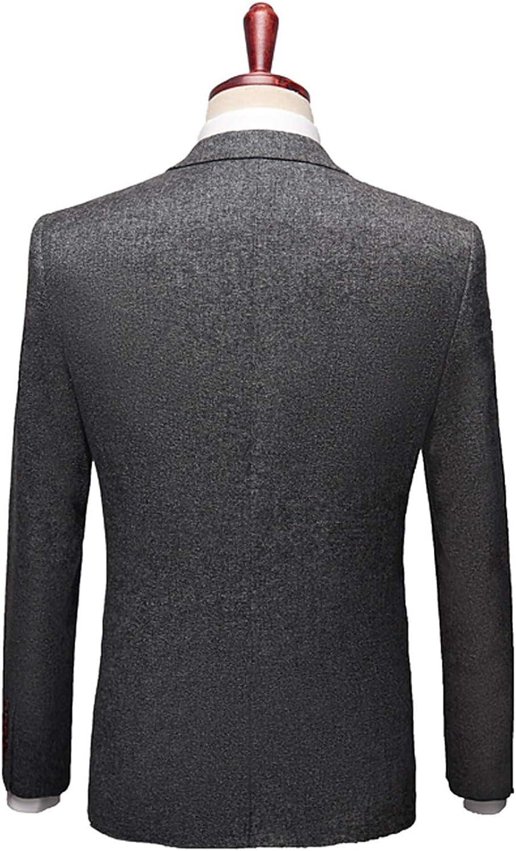 GATMSTZ Men's 3 Pieces Business Suit Woolen Blend Double Breasted Vest Pants Dark Grey