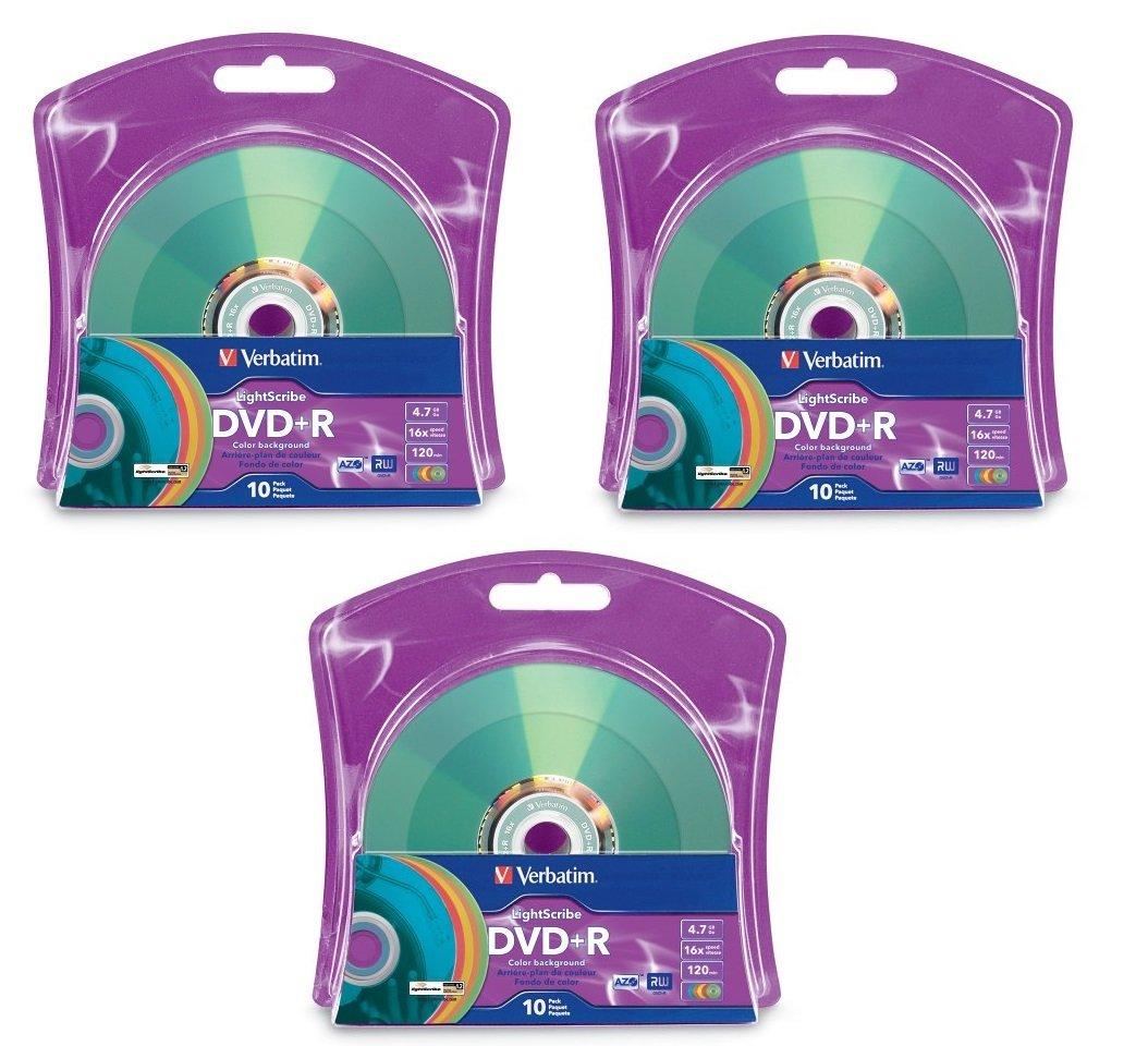 Verbatim 16x DVD+R LightScribe Assorted Color Blank Media, 4.7GB/120min - 30 Pack (3 x 10 Packs)