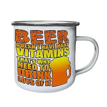 La cerveza no tiene vitaminas Retro, lata, taza del esmalte 10oz/280ml aa232e