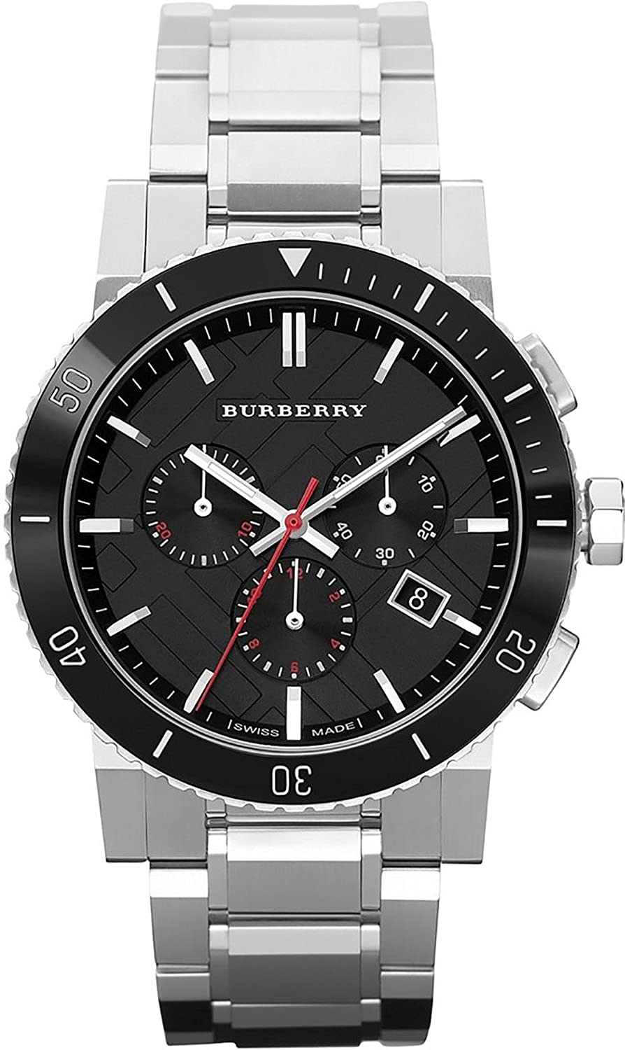 Amazon Com Burberry Black Dial Chronograph Stainless Steel Mens