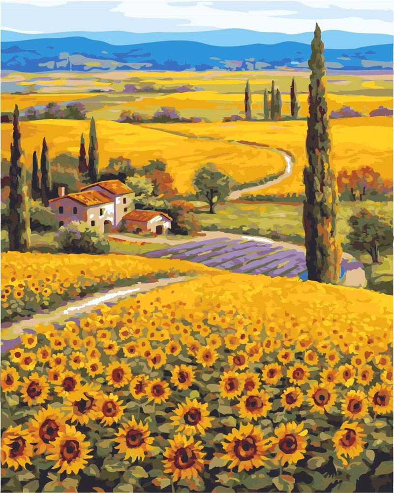 Kids Linen Canvas Sunflower Blue Sky CaptainCrafts New DIY Paint by Numbers 16x20 for Adults Beginner kit Frameless