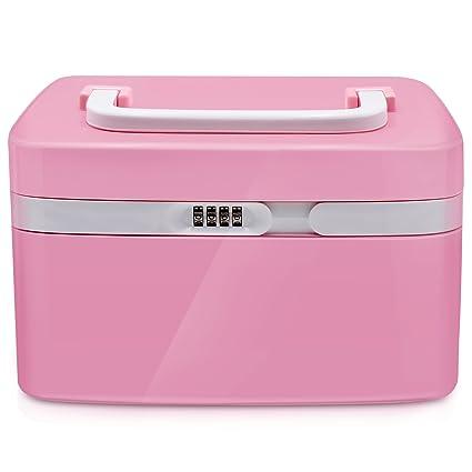Mermaid Caja de almacenamiento con cerradura de seguridad cajas plasticas con tapa de maquillaje -Botiquín de ...