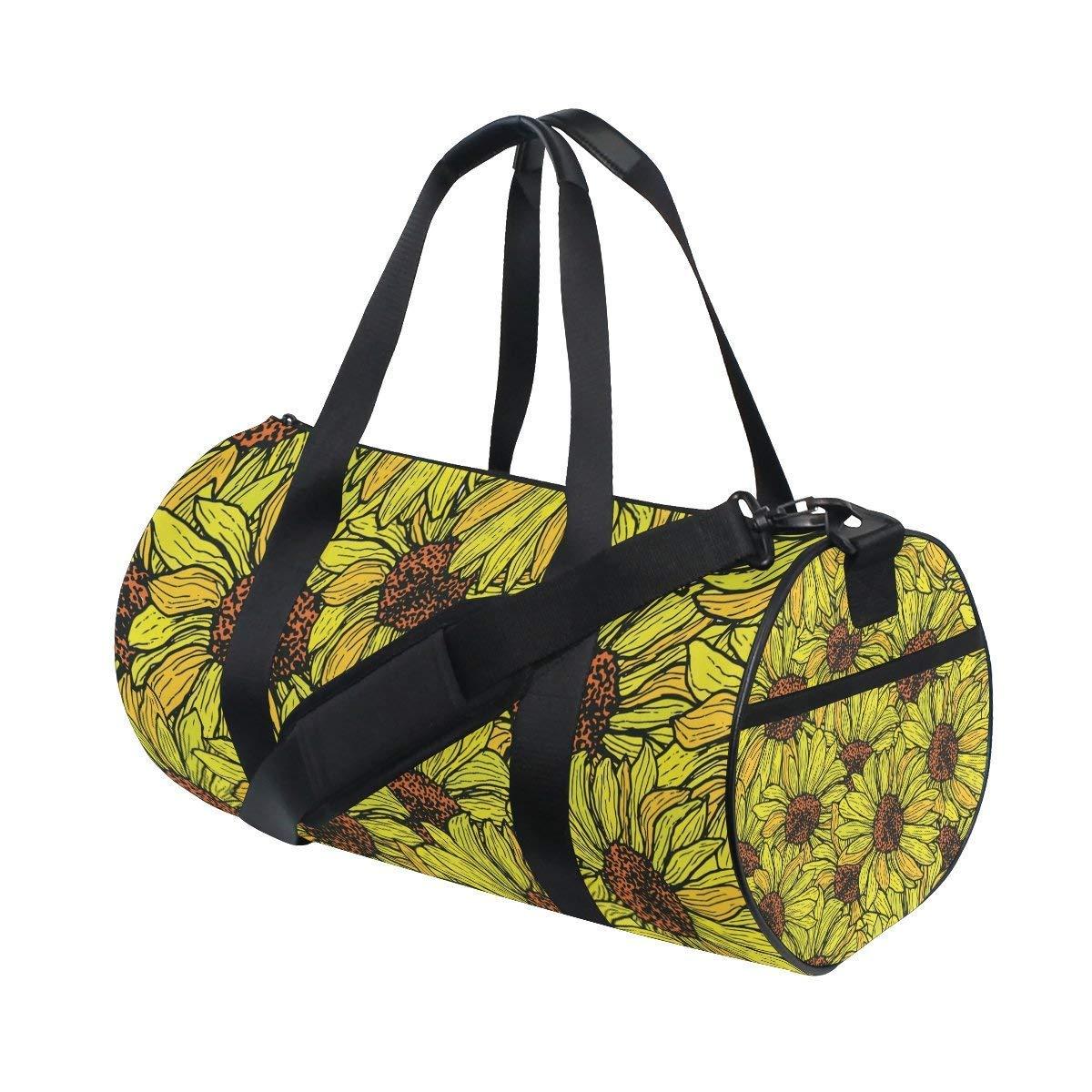 Gym Duffel Bag Watercolor Sunflower Sports Lightweight Canvas Travel Luggage Bag