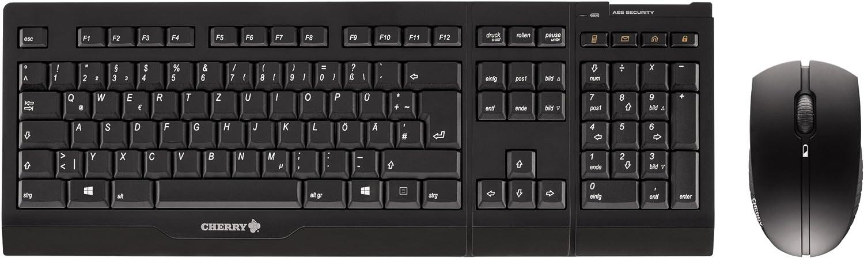 Cherry JD 0400DE 2 drahtlose Tastatur (Deutsch, USB) mit optische Maus (1000dpi, 3 Tasten) schwarz