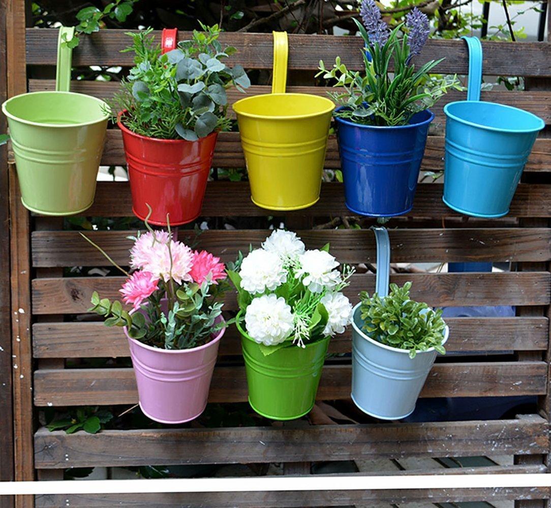 RIOGOO Flower Pots, Garden Pots Hanging Buckets Hanging Planter,Metal  Flower Pots Plant Pots Home Decor - Detachable Hook (6 PCS)