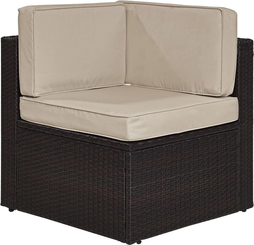 Crosley Furniture KO70089BR-SA Palm Harbor Outdoor Wicker Corner Chair, Brown with Sand Cushions