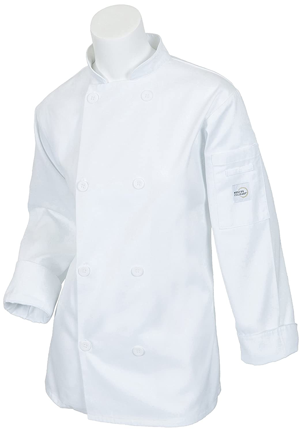 Mercer Culinary M60020WHM Millennia Women's Cook Jacket with Mercer Logo Buttons, Medium, White