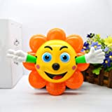 Kurtzy Sunflower 360 Degree Rotating Toy with Music Sound 3D LED Light for Baby Children Kids Certified by Bureau of Indian Standards