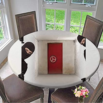 Mikihome Luxury Round Table Cloth for Home use Ninja Safe Robber Hiding Behind a Empty White Sign with Space for Text for Buffet Table, Holiday Dinner ...