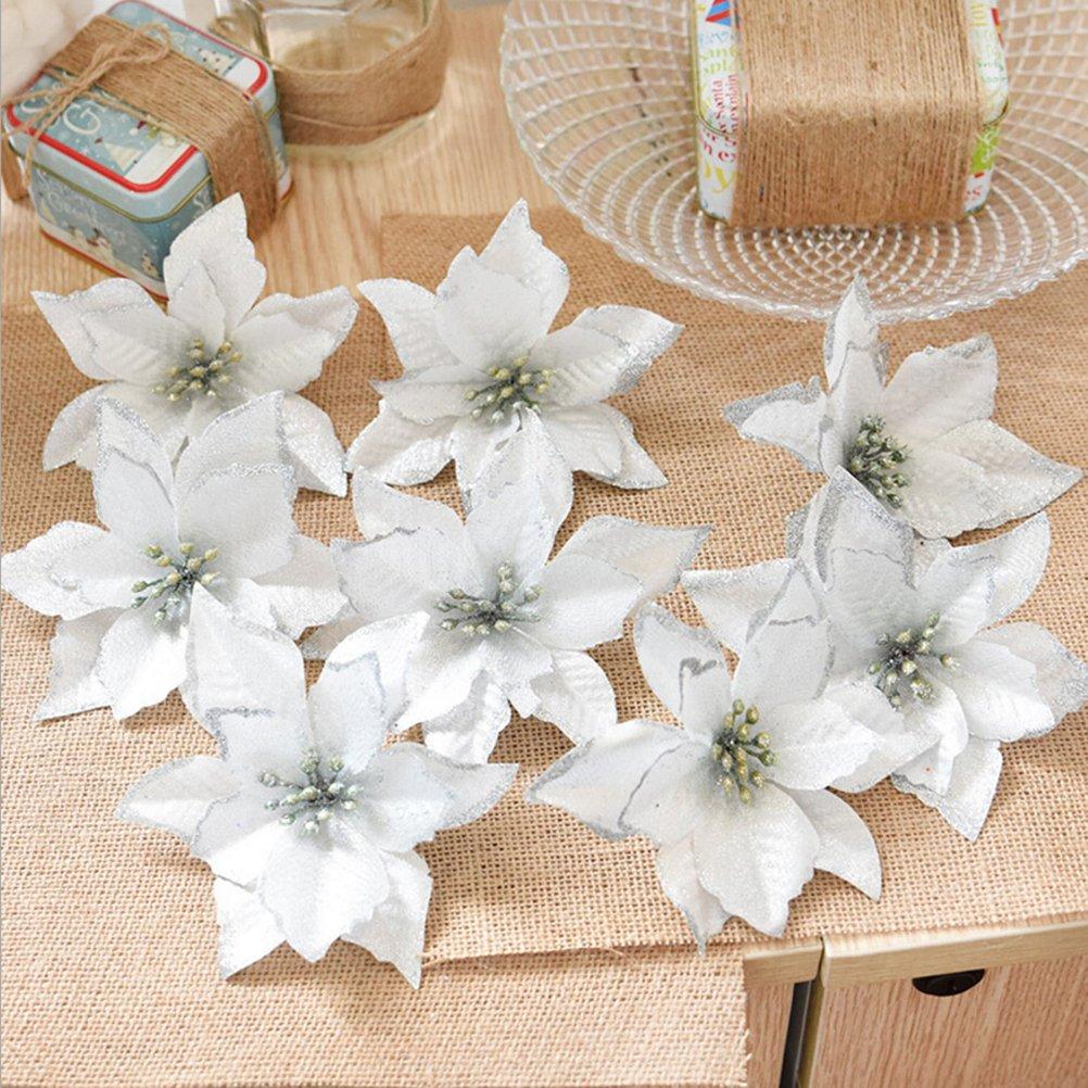 OULII 8 pcs 13cm Weihnachtsbaum Blumen k/ünstlich Bl/üten Weihnachtsdekoration Hochzeit Party Weihnachtskr/änze Deko Ornament Silber