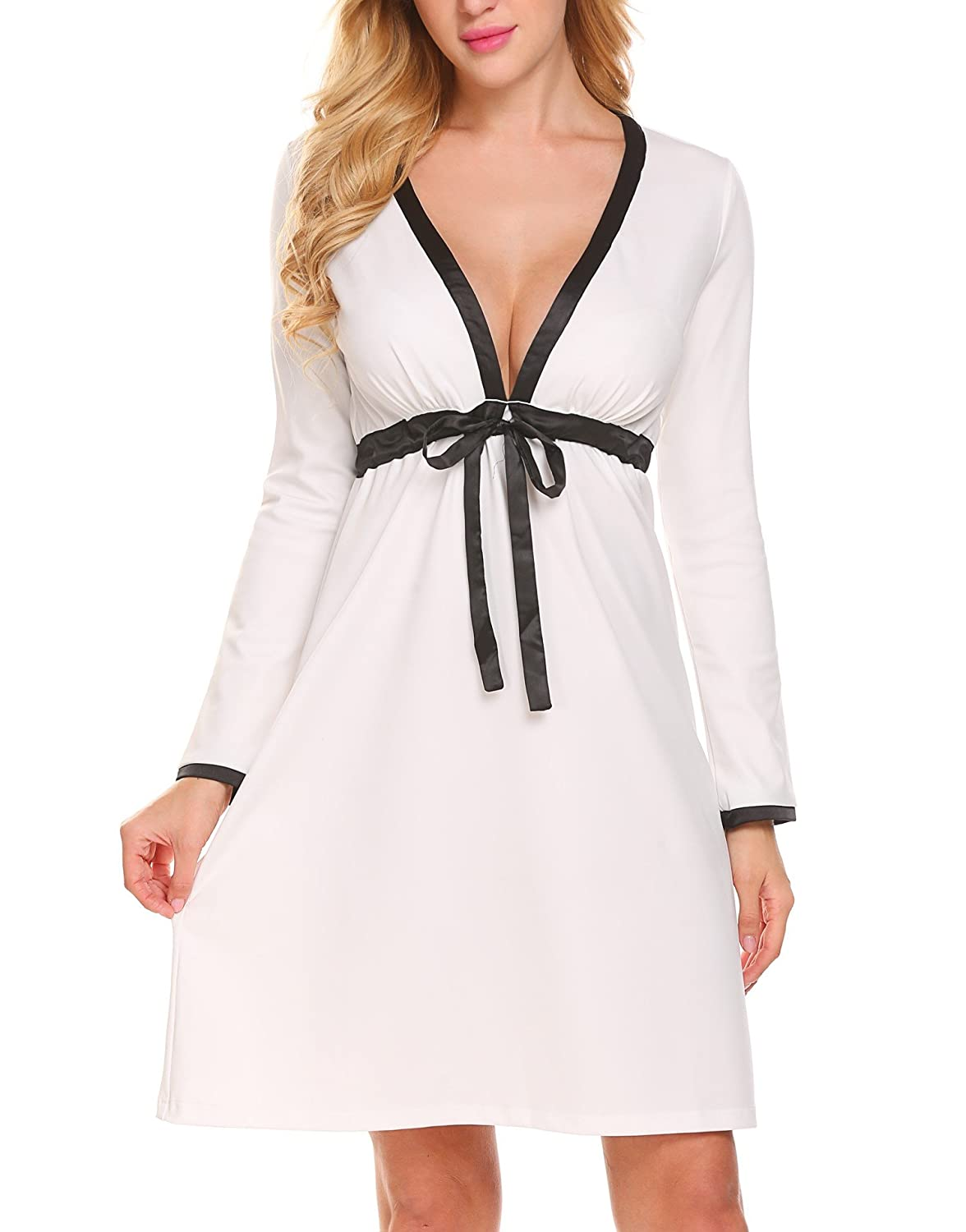 AIMADO Women's Sleepwear Sexy V Neck Long Sleeve Nightdress