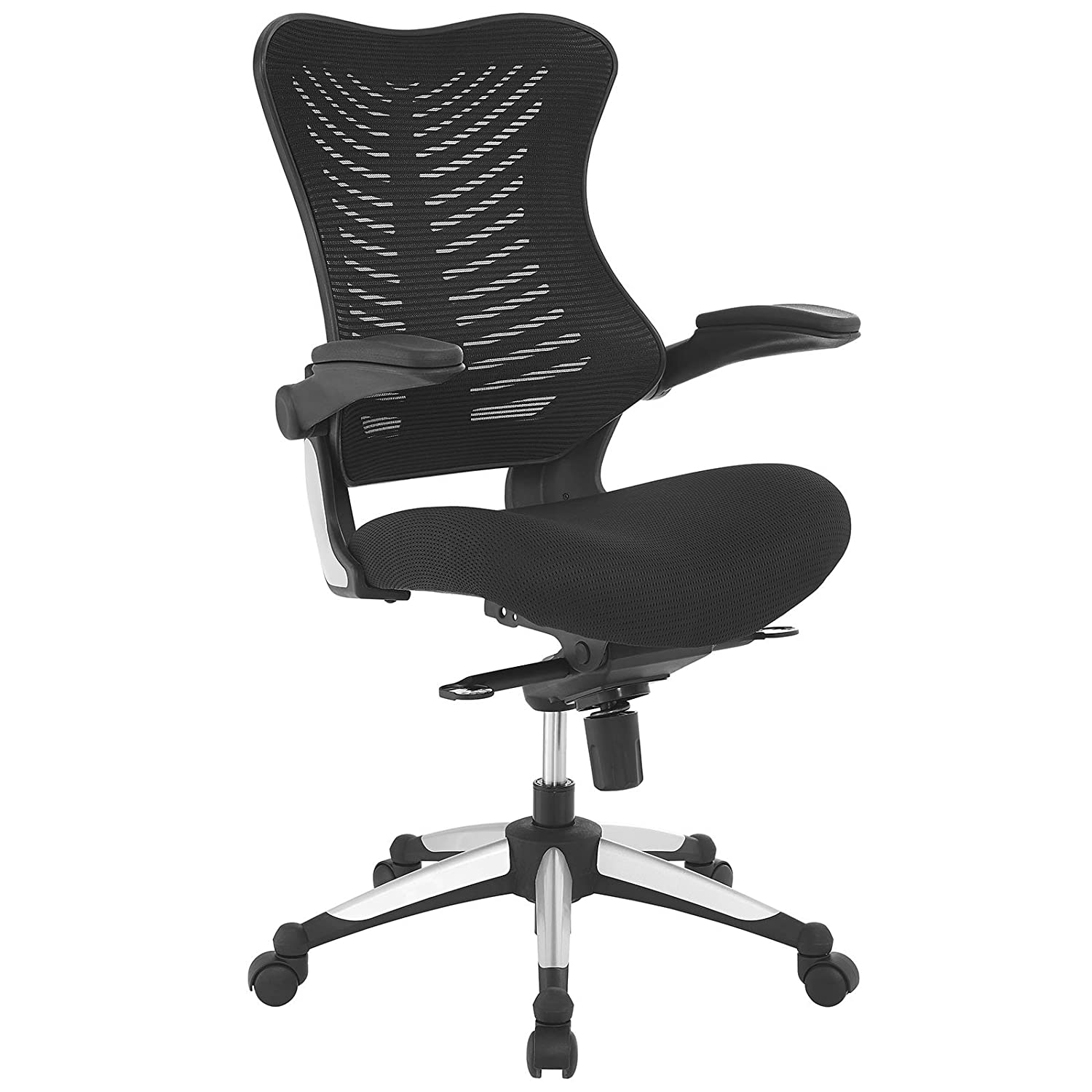 Office Chair Modway EEI-2285-BLK Charge Ergonomic Managerial Mesh Office Chair with Flip-Up Padded Arms, Black
