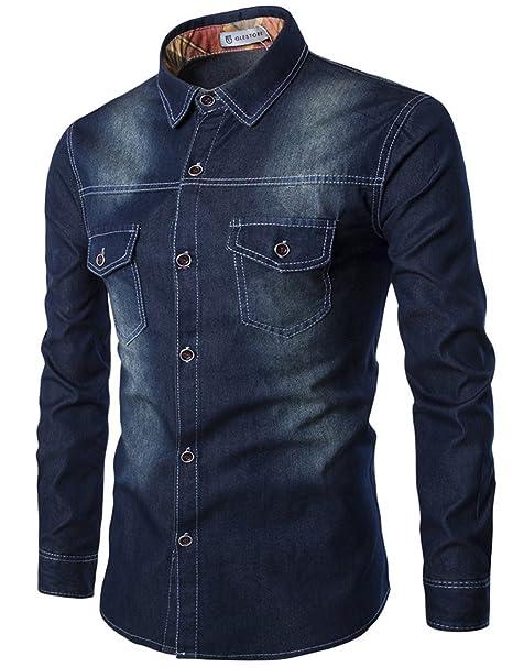 0a228557bbbc6 Glestore Hombres Camisa Vaquera Jean Manga Larga Slim Fit Casual   Amazon.es  Ropa y accesorios