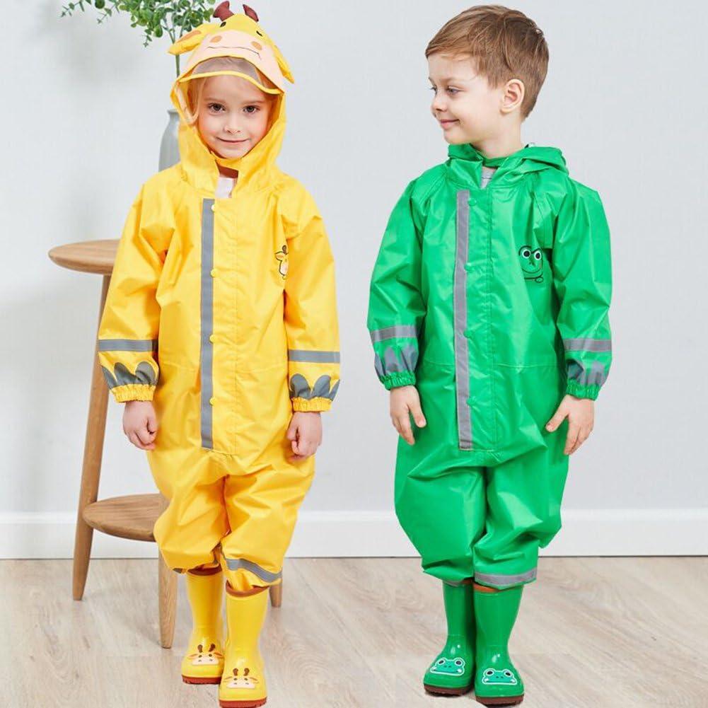 Children Waterproof Raincoat,Raincoat All in One Coverall Baby Waterproof Jumpsuit Kids Hooded Animal Shape Rainsuit 2-8 Years Old