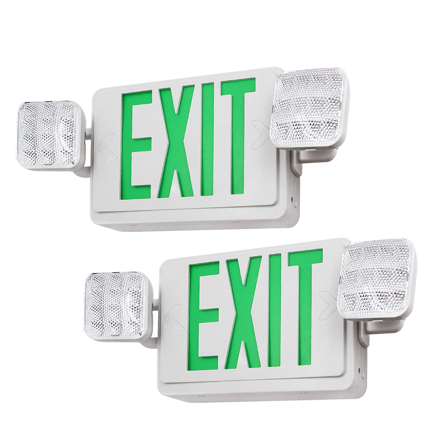 Green LED Emergency Exit Light with Battery Backup, UL-Listed Exit Sign Light, AC 120V/277V, Dual Square Heads Lights for Hallways/Corridors/Stairways, Pack of 2
