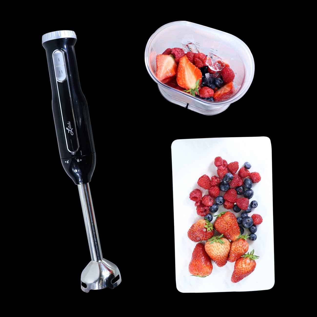 Anti-salpicaduras Negro Litchi Batidora de Mano 600 W de Potencia Multifuncional por Turmix Smoothies Salsa Sopa de verduras Sin Ruido