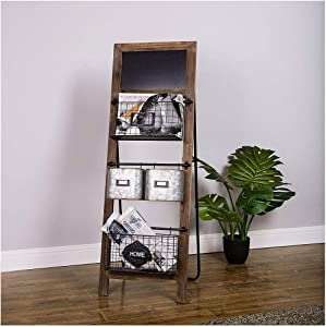 "Glitzhome Magazine Rack 3 Tier Magazine Rack with 4 Baskets Floor Standing 40"" H Farmhouse Plant Stand Storage Organizer Rack for Home and Office with Chalk Board Indoor Outdoor Decor"