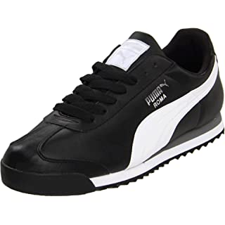 PUMA Men's Roma Basic Fashion Sneaker, Black/White/Silver - 11.5 D(M) US