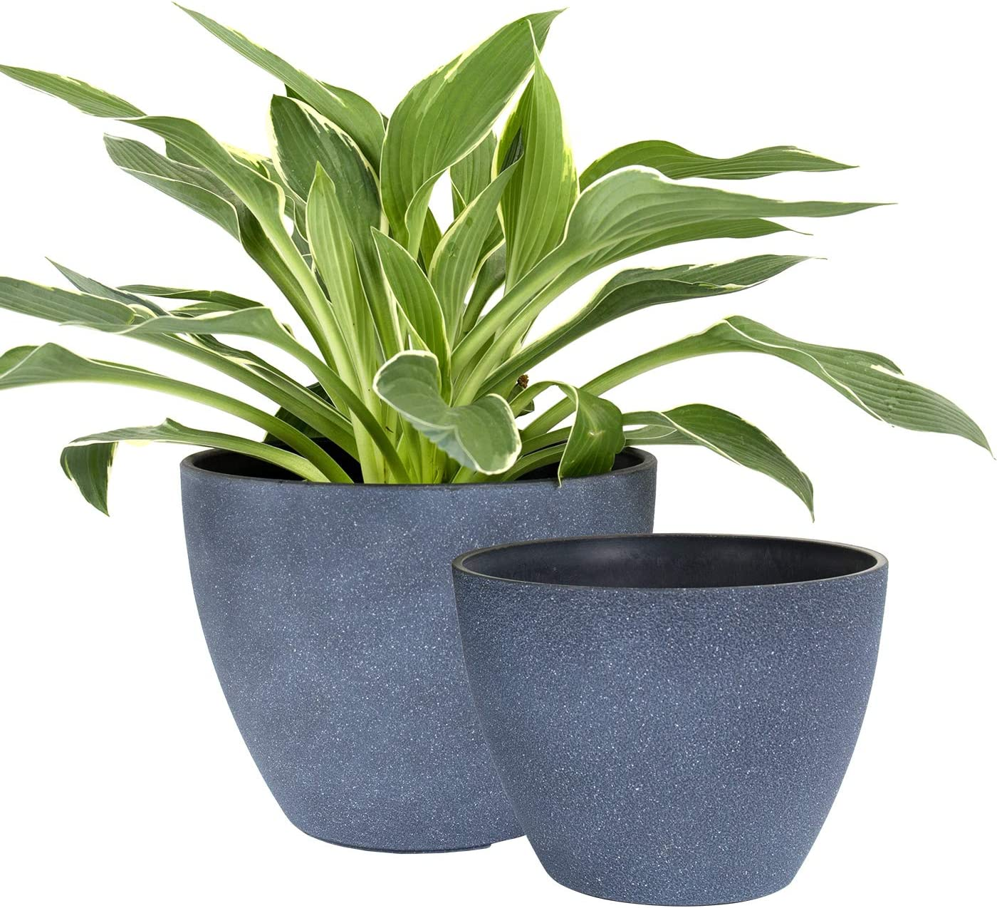 Flower Pots Outdoor Indoor Garden Planters, Plant Containers with Drain Hole, Weathered Grey (8.6 + 7.5 Inch)