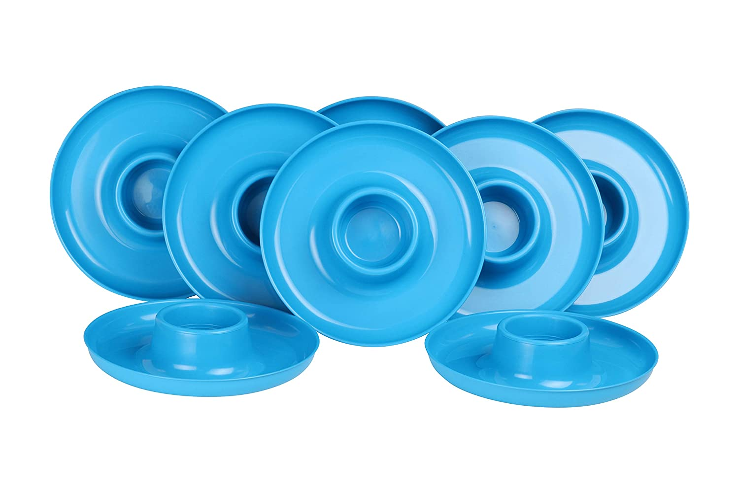 GreatPlate GP-TEAL-8PK AZ Teal Plate 8-Pack, 8 Teal GreatPlates, Food Tray and Beverage Holder, Dishwasher Safe, Microwave Safe, Made in USA, Picnics, Parties, Tailgates, Appetizers, Great for Kids